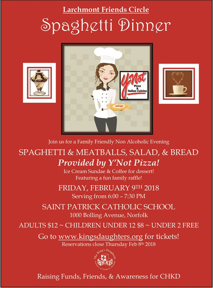 2018 Spaghetti Dinner Flyer